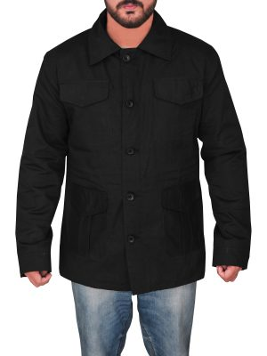 men black utility jacket, black utility cotton jacket,