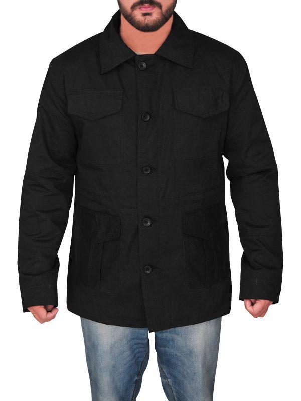 men black utility jacket, black utility cotton jacket,