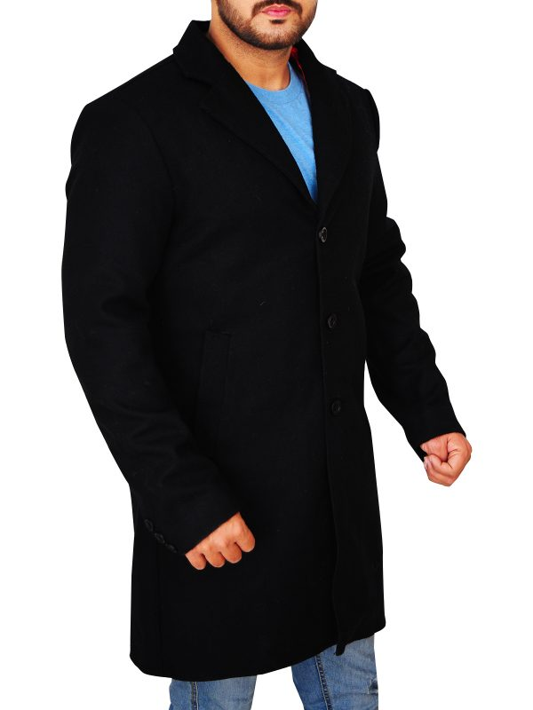trending black wool coat for men, men black long wool coat,