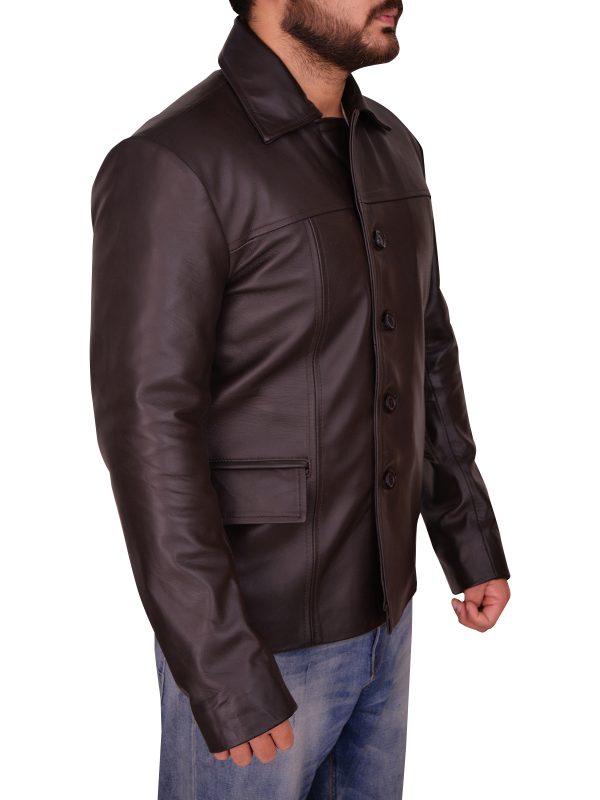 attractive men brown leather jacket, fashionable men brown leather jacket,