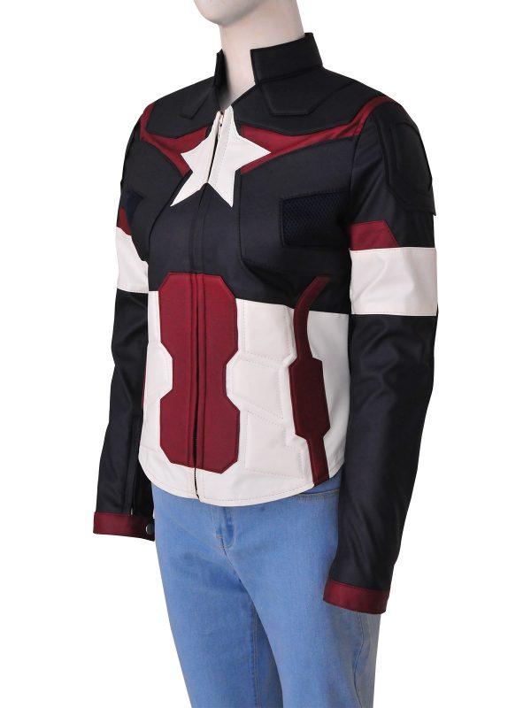 women avengers leather jacket, avengers captain america girl jacket,