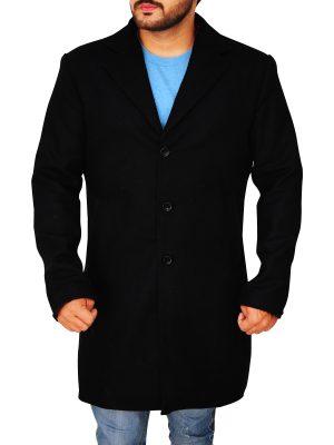body fitted black wool coat for men, men's black long wool coat,