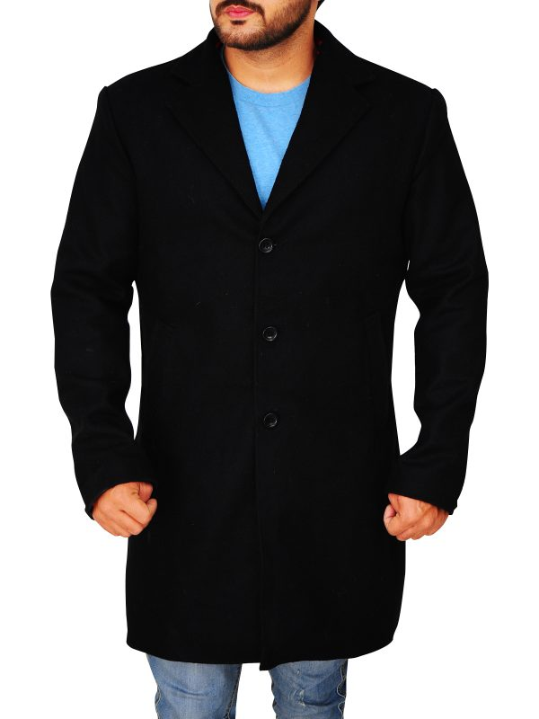body fitted black wool coat for men, men's black long wool coat,