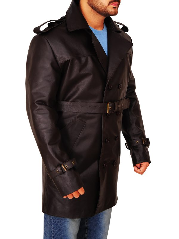 leather peacoat for men, men's leather peacoat,