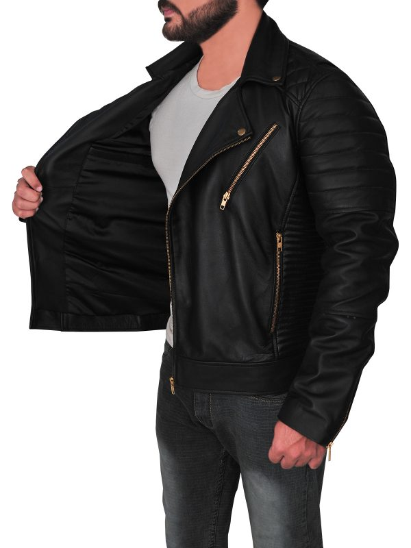trending black leather jacket for men, men's black brando leather jacket,