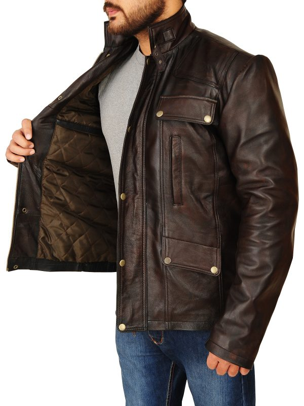 stylish men dark brown leather jacket, trendy dark brown leather jacket,