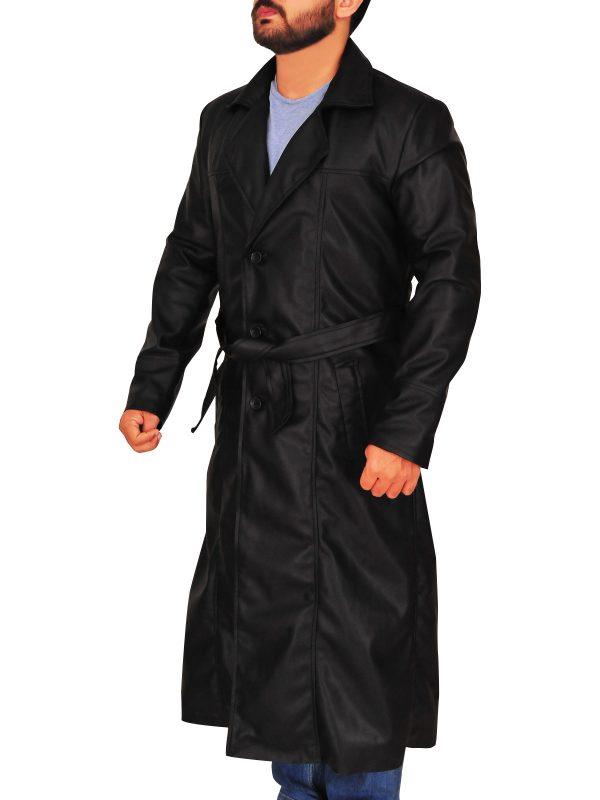 fashionable men black trench coat, men original black trench coat,