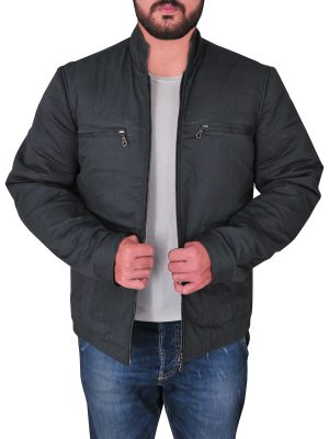 men cotton jacket in grey, grey color cotton jacket,