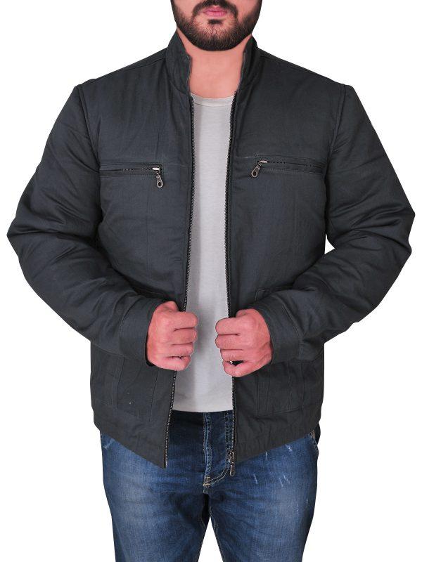 men cotton jacket in grey, grey color cotton jacket,