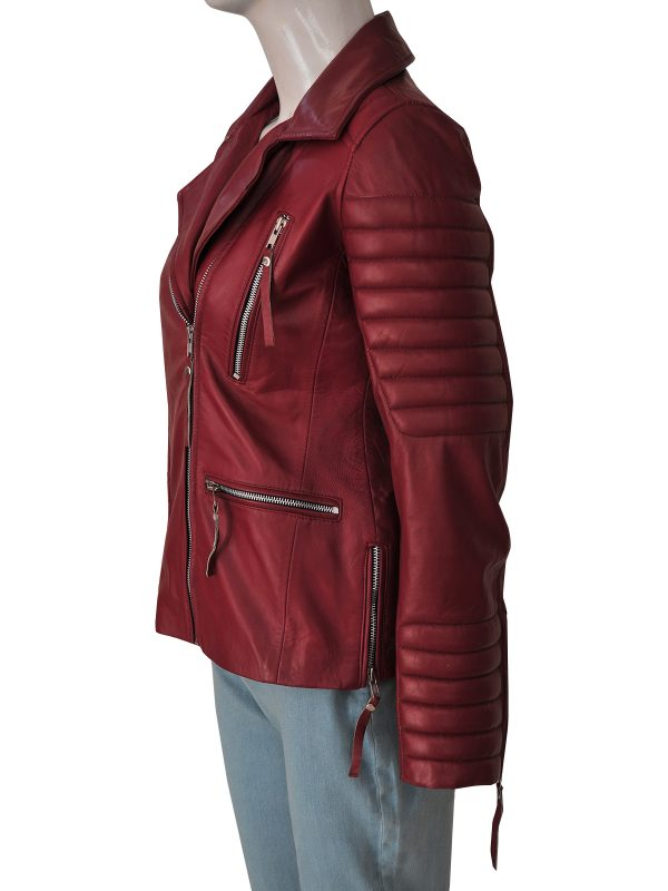 fancy maroon leather jacket for women, dashing women maroon leather jacket,