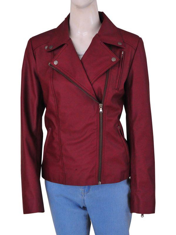 women maroon leather jacket, fashionable red women leather jacket,