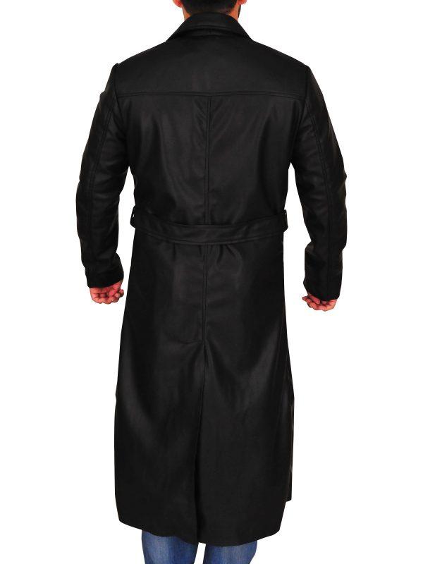 mauvetree black faux leather trench coat, mauvetree men trending black trench coat,