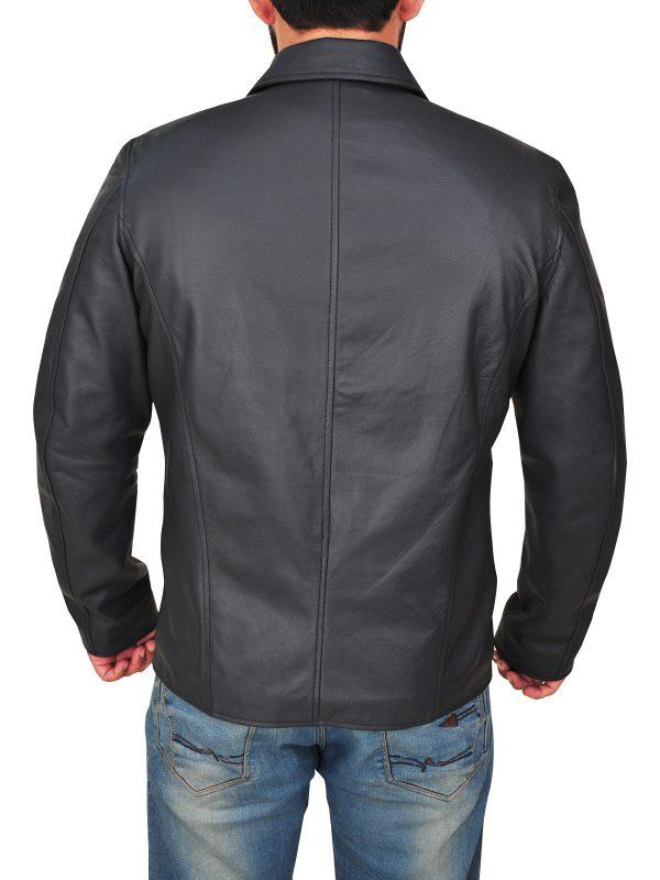 mauvetree men black shirt collar jacket, mauvetree men lapel collar black leather jacket,