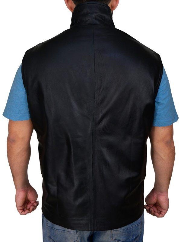 mauvetree men black leather vest, mauvetree men stylish black vest,