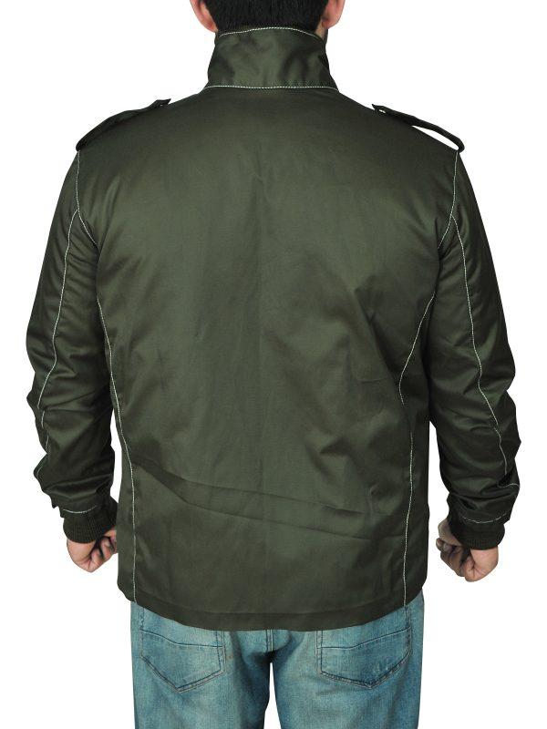 mauvetree green cotton jacket for men, mauvetree mens green cotton jacket,