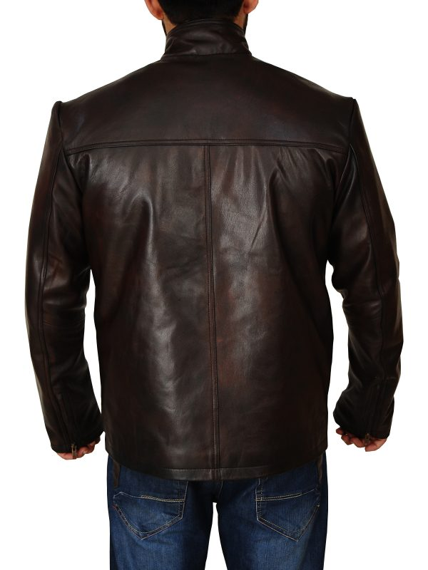 mauvetree men brown leather jacket, mauvetree dark brown leather jacket for men,