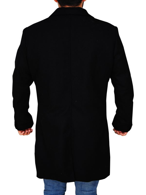 mauvetree black long wool coat, mauvetree men black wool coat,