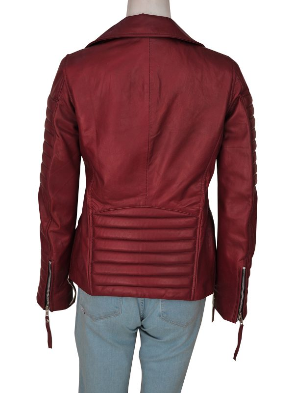 mauvetree women maroon leather jacket, mauvetree maroon biker leather jacket,