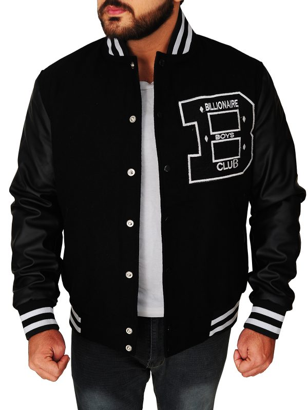stylish black bbc varsity jacket, fashionable men black bbc varsity jacket,