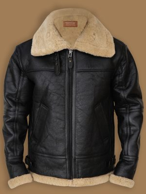 black b3 bomber shearling jacket for men, black b3 bomber sheepskin jacket,