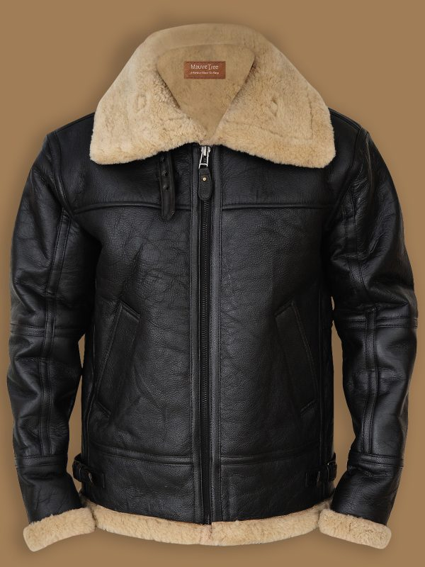 black b3 bomber shearling jacket for men, black b3 bomber sheepskin jacket,