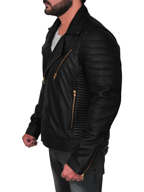 slim fit black brando leather jacket for men, men black motorcycle leather jacket,
