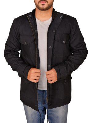 streetwear black cotton jacket, black cotton jacket for men,