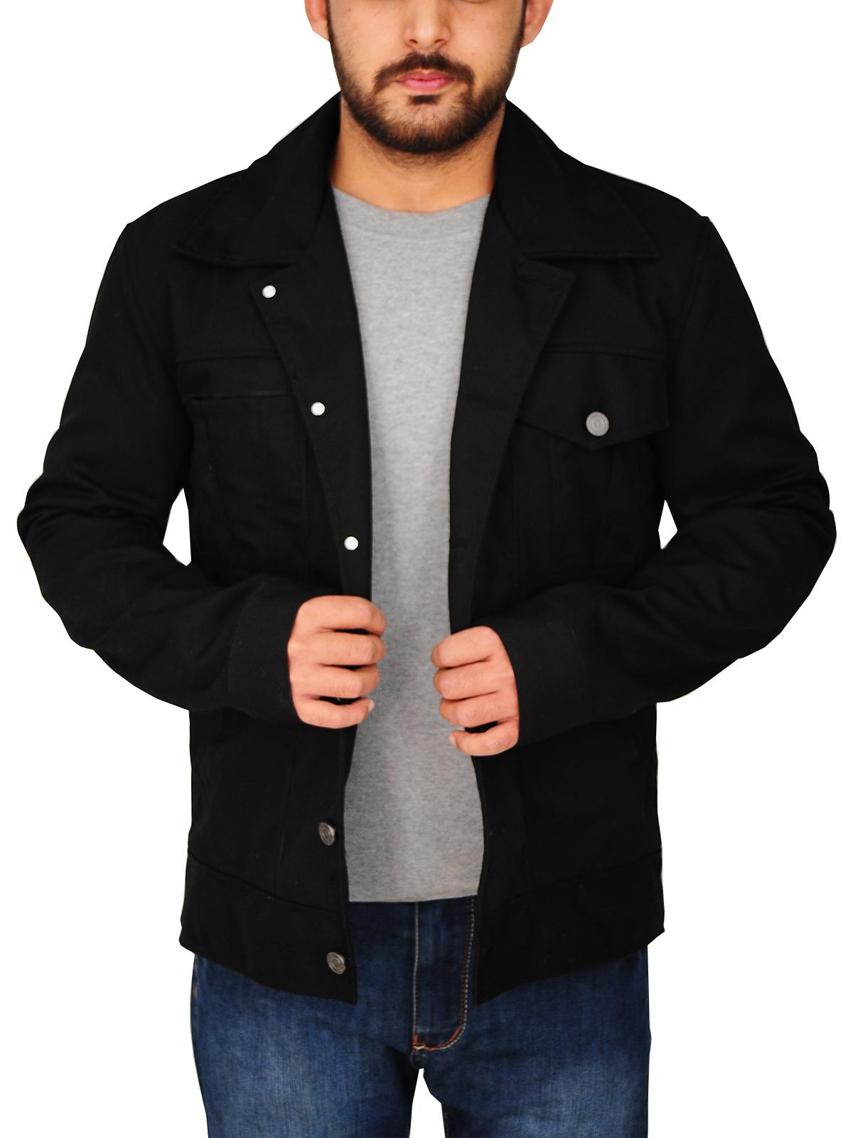 Mens Casual Black Cotton Jacket   Men