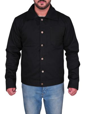 men black casual cotton jacket, black casual cotton jacket for men,