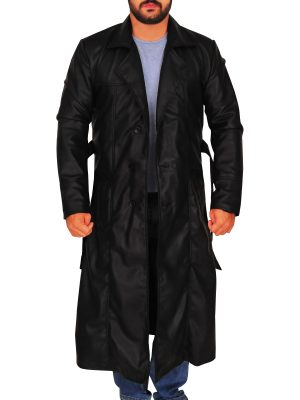 street wear men black trench coat, classic black trench coat for men,