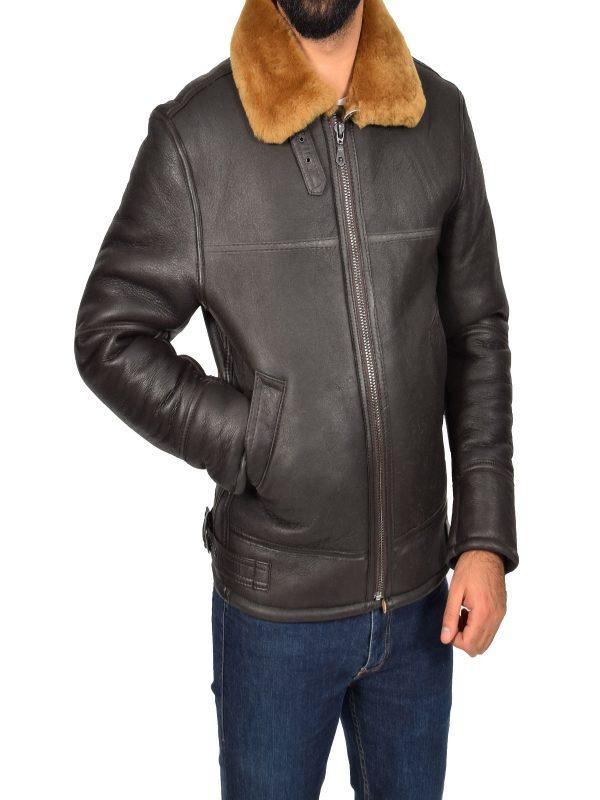 men brown trending shearling leather jacket
