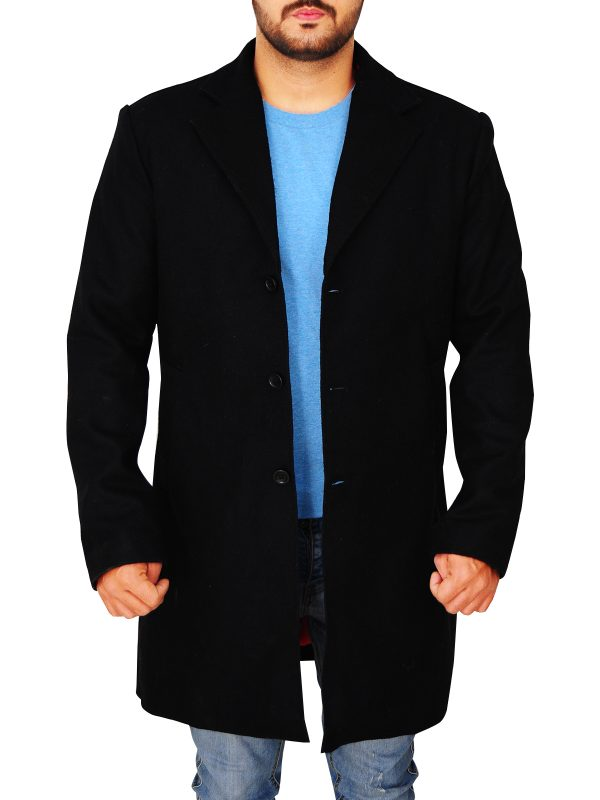 classy black wool coat for men, slim fit black wool coat for men,