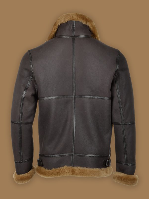 men stylish black shearling jacket