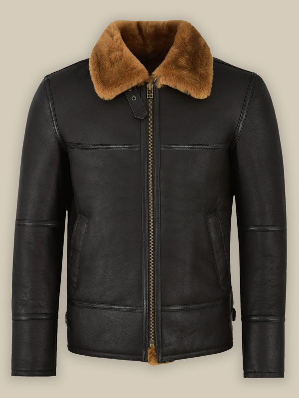 trending men black leather jacket