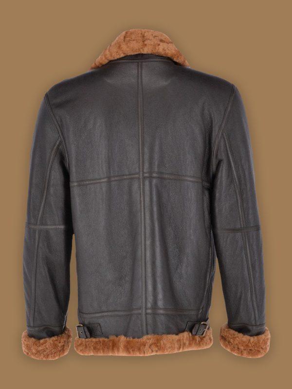 brown shearling jacket for men