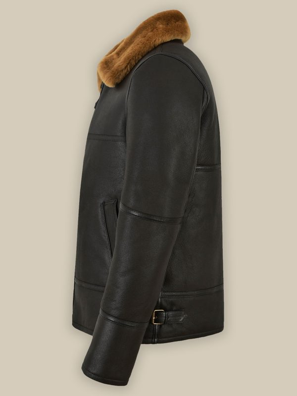 stylish black shearling jacket