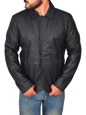 men sleek black leather jacket, streetwear black leather jacket for men,