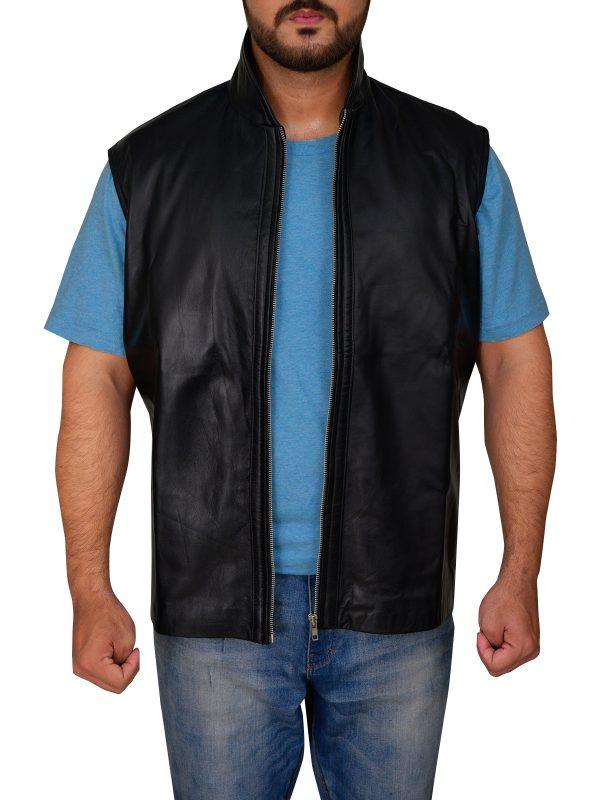 men black leather vest, black leather vest for men,