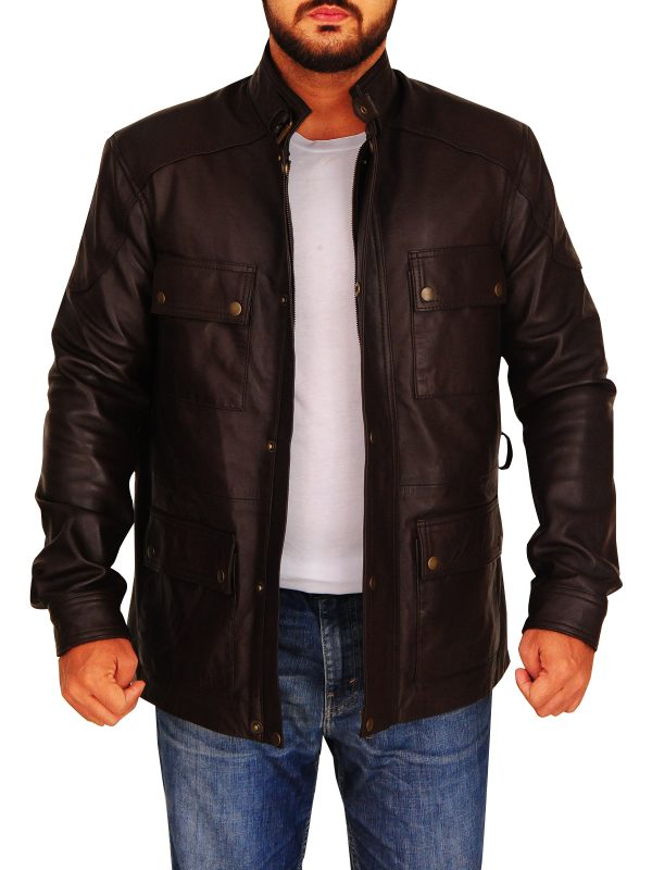 classic brown field leather jacket, brown field leather jacket for men,