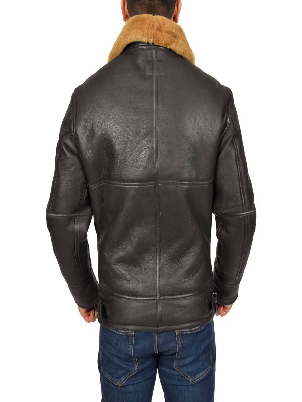 trending men brown shearling jacket