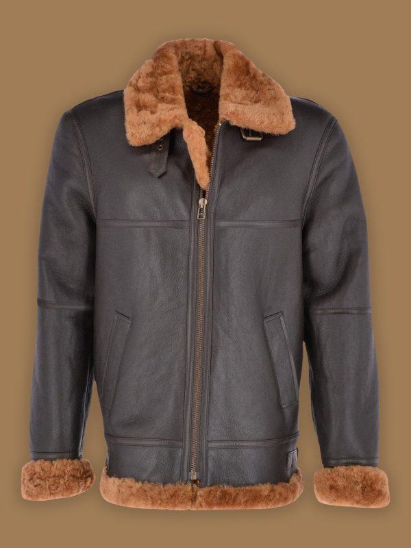 men light brown shearling jacket