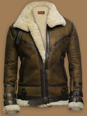 men brown aviator jacket, men brown shearling aviator jacket,