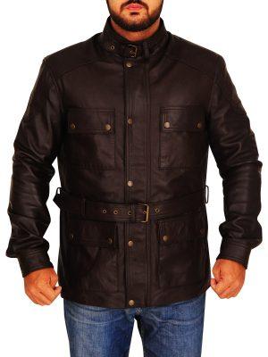 mens brown field jacket, field leather jacket for men,