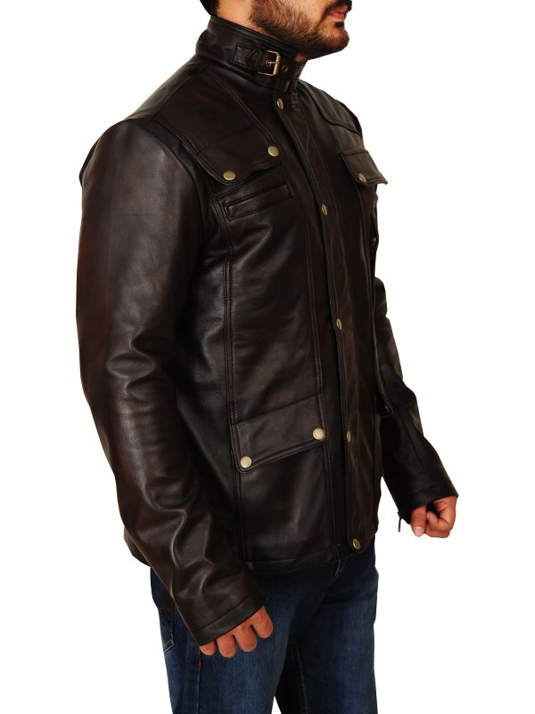 dark brown leather jacket for men, dashing dark brown men leather jacket,