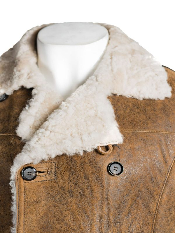 men light brown shearling jacket