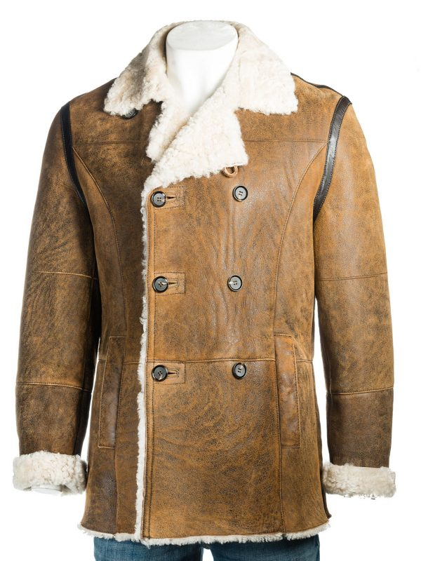 trending en distressed brown shearling coat