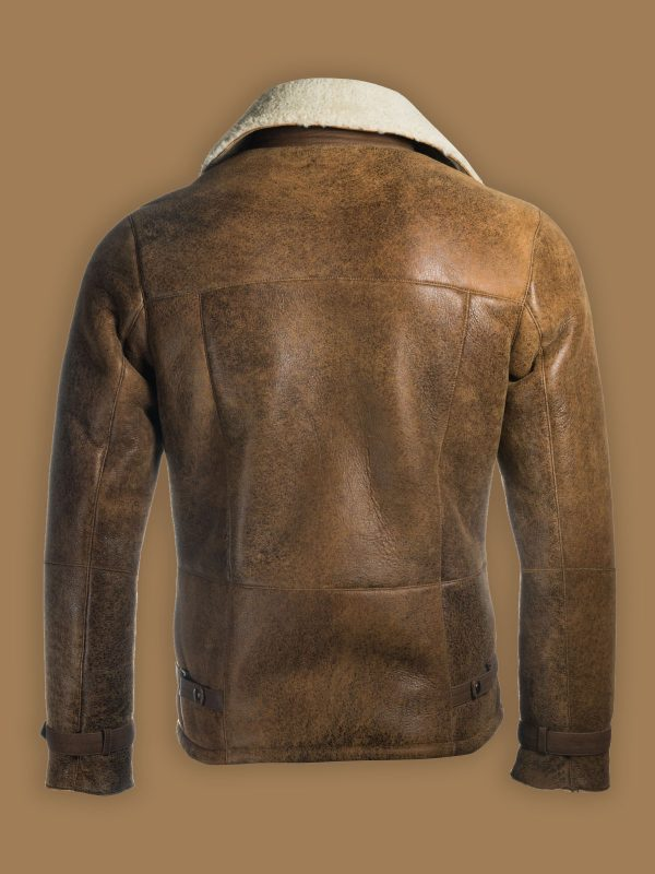 men distressed shearling jacket