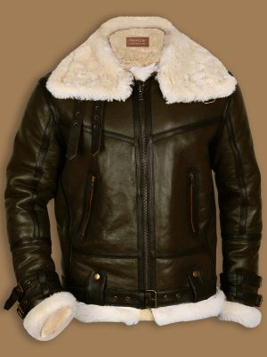 men army green shearling jacket, men green b3 bomber sheepskin jacket