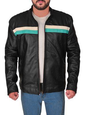 men biker racing leather jacket, black racing biker leather jacket for men,
