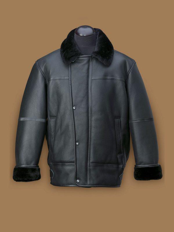 men black shearling aircraft leather jacket